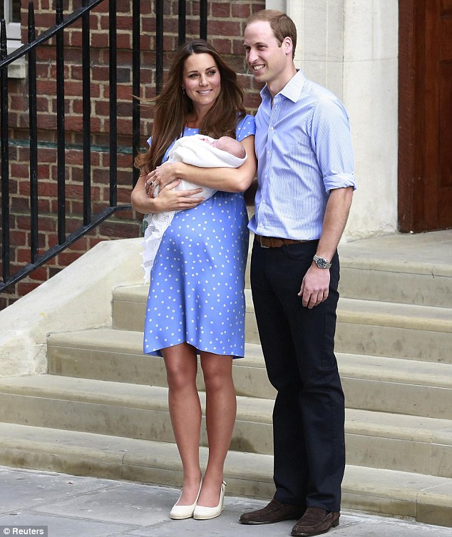 Taking it all in: The two pause for a moment at the bottom of the steps, taking in the crowds - to whom William later apologised for keeping waiting so long