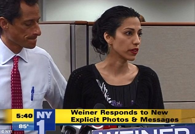 Rare: Abedin, a long time aide to Hillary Clinton, hardly ever makes public appearances and this was her first time speaking at a press conference