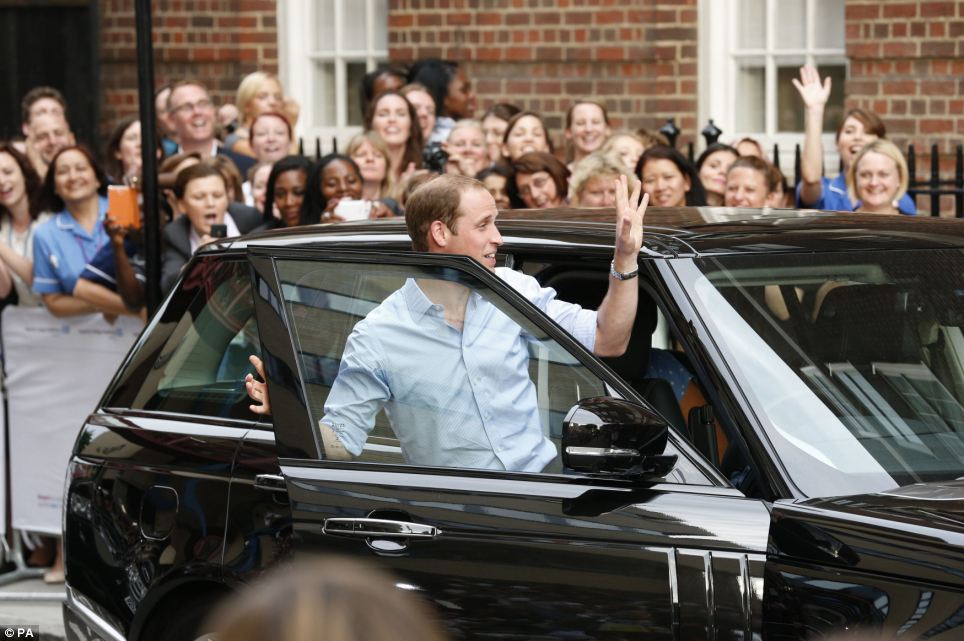 Goodbye: William gives a final farewell wave before he drives his wife and their new addition back home