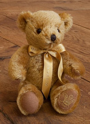 Teddy boy: Highgrove's £65 bear, made with antique gold mohair and embroidered with gold thread