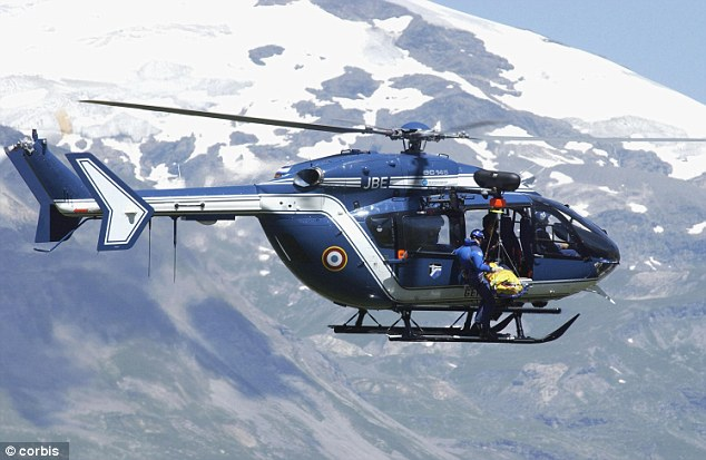 Helicopter: Allen called the helicopter, similar to the one above, at 5:20 a.m. on Wednesday and it arrived an hour later (stock photo)
