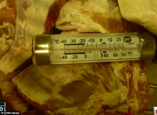 Gross: Anonymous crew members took photos of raw meat that they were forced to store in crew cabin sinks at potentially hazardous temperatures