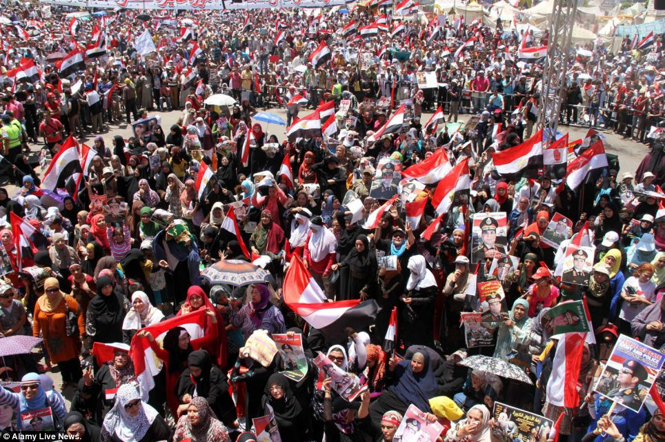 Show of strength: Supporters of the army gathered in Tahrir Square in Cairo on Friday