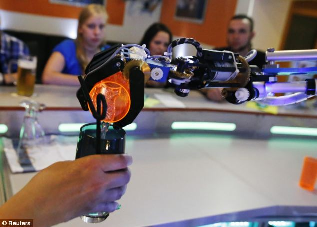 There are only nine seats at the bar for the best view of Carl in action at the Robots Lounge and Bar in Ilmenau