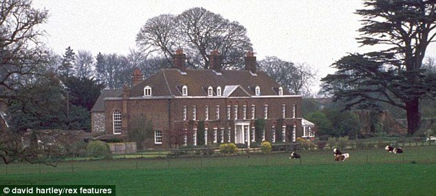 Country home: The 10-bedroom Georgian property, Amner Hall, is situated on the monarch's private estate at Sandringham