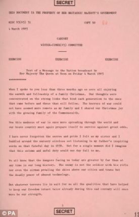 Message to the Nation: The speech prepared for the Queen in the event of the outbreak of World War Three