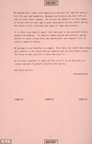 The speech prepared for the Queen in the event of the outbreak of World War Three