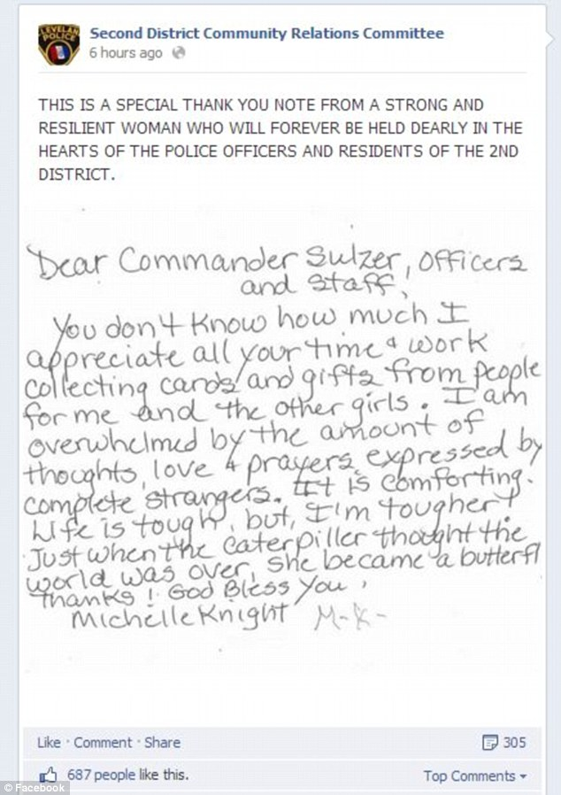 Cleveland police posted Knight's touching handwritten note on their Facebook page on Wednesday evening
