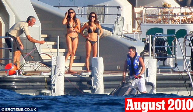 August 7th, 2010: One of the first times Cowell and Lauren (left) were pictured together, during a holiday in France with his then girlfriend Mezhgan Hussainy
