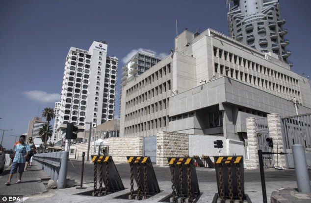 Barriers block access to the U.S. embassy in Tel Aviv, Israel, on August 3