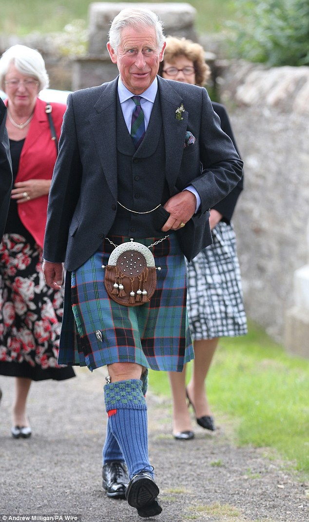 The Prince donned full Scottish highland dress as he attended the church service in Caithness