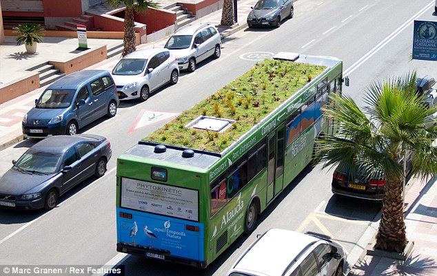 All aboard: The first garden bus in Spain has been specially designed to improve the quality of the air in the country's urban centres