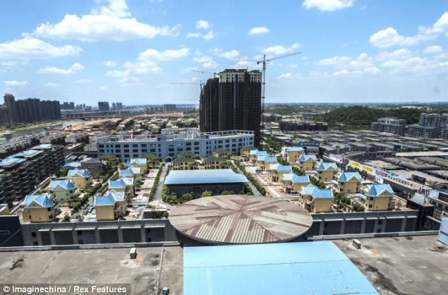 Panoramic views: The villas were built on the roof of mall in Hengyang, in the central province of Hunan