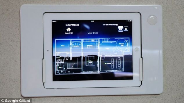 The Cornflake smart house's operational iPad hub is pictured