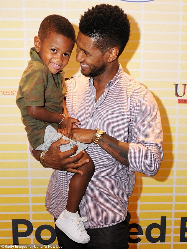 Hospital dash: Usher's son Usher Raymond V, five, was rushed to intensive care after a serious pool accident on Monday