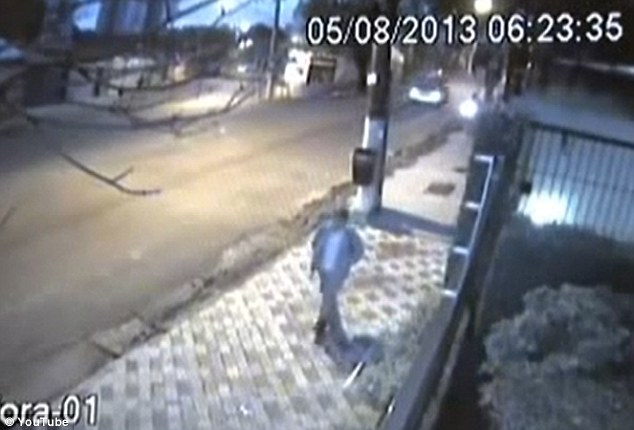 CCTV footage from a security camera shows Marcelo Pesseghini casually returning back to the house where his four family members lay dead after spending a day at school