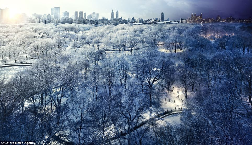 A wintry Central Park looks crisp and bright - until the sun sets and a dark grey shadow is cast over the sprawling public space