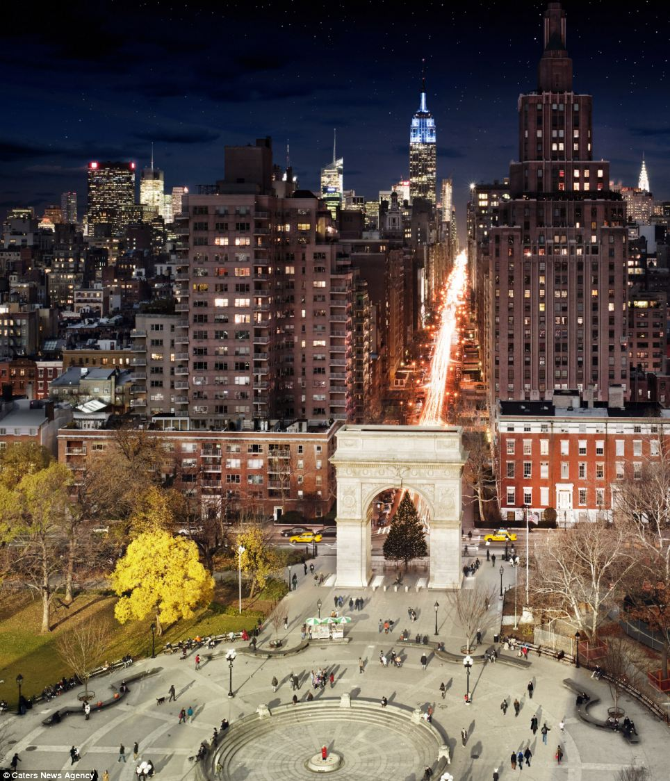 Washington Square Park is caught between the day and the night as part of Mr Wilkes unique way of capturing scenes