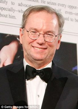 Famous funders: Google's Eric Schmidt (left) was the first one to invest money in Waywire, and Booker's close friend Oprah Winfrey (right) followed shortly after