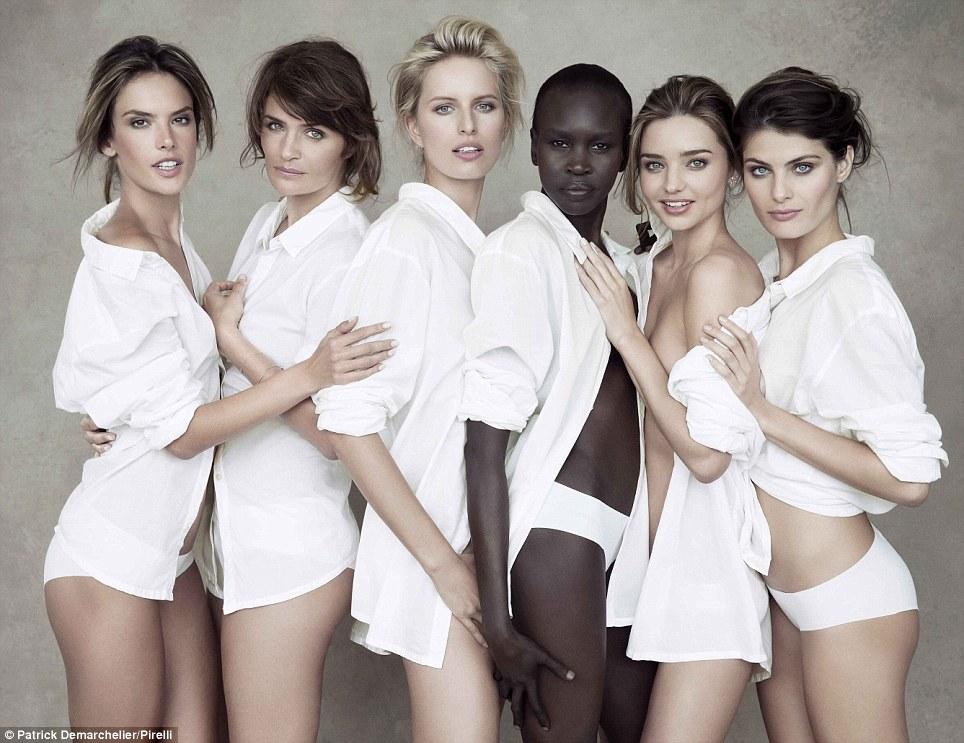 The 50th anniversary Pirelli calendar features (l-r) Alessandra Ambrosio, Helena Christensen, Karolina Kurkova, Alek Wek, Miranda Kerr and Isabeli Fontana