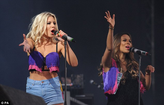 Mollie King and Rochelle Humes were tassels over their stage- costumes as they perform on the Virgin Media Stage at this year's Virgin Media V Festival