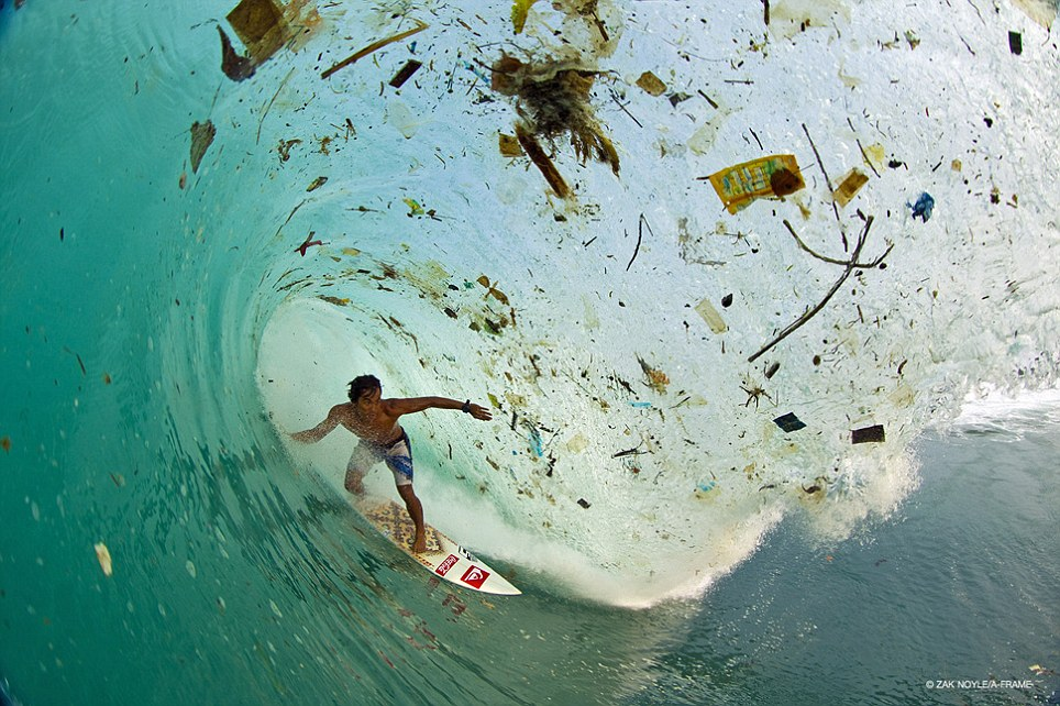Trash: The picture was taken off the coast of Java in Indonesia and shows Indonesia's most famous surfer Dede Suryana surfing through an enormous rubbish-filled wave