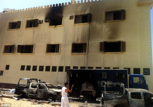 Lawless: A building in Sinai is shown in the aftermath of a bomb attack last week