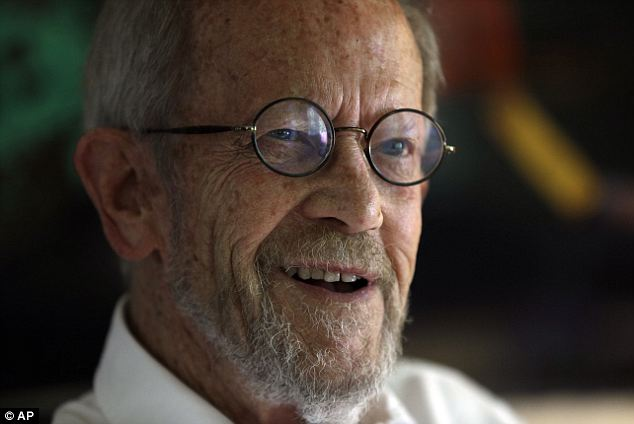 Passed on: Elmore Leonard, pictured here in September 2012, died on Tuesday due to complications from a stroke