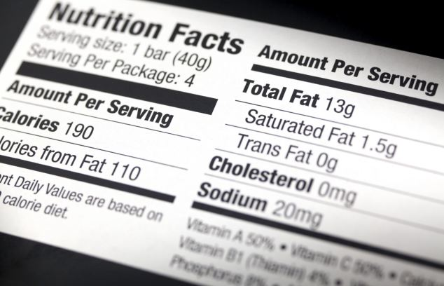 A nutritional label