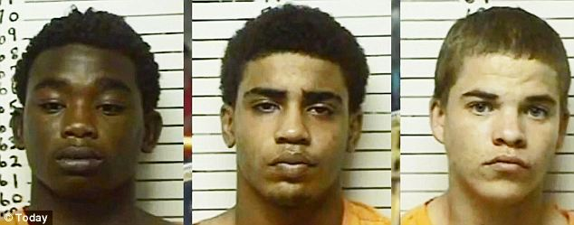 Charged: James Edwards (left) and Chancey Luna (center) face first degree murder charges while Michael Jones (right) is charged as an accessory for allegedly driving the car