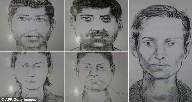 Composite sketches of the suspects: Police said the victim was on assignment to take pictures of an abandoned textile factory in south Mumbai late yesterday when five men confronted her