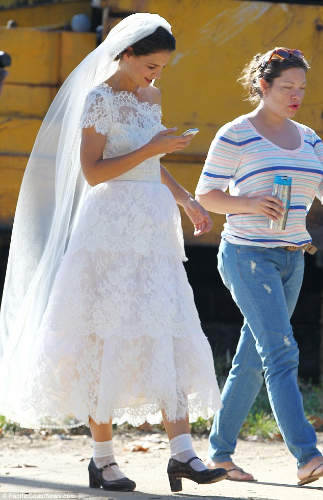 Katie Holmes Dons Wedding Dress Complete With Socks And