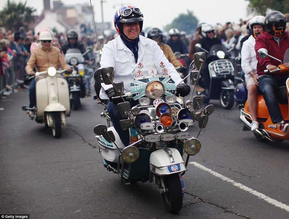 Getting into the swing of things: Many riders dress up for the mass ride which took place yesterday