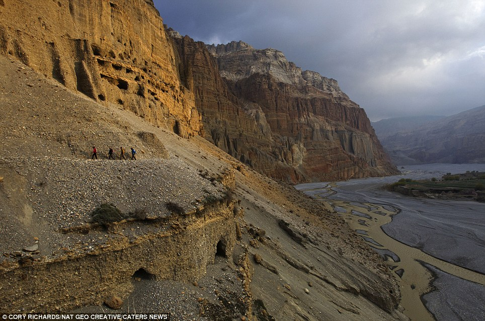 Adventure: Climbers and scientists follow a trail above the Kali Gandaki River