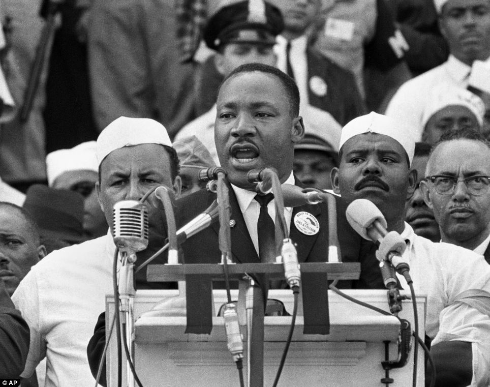 Historic: Dr Martin Luther King, Jr. is pictured delivering his iconic 'I Have a Dream' speech at the same place Obama stood today