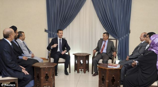 Target: Syria's President Bashar al-Assad (centre left) pictured yesterday during a meeting with a Yemeni delegation in Damascus