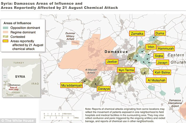 The White House released this map detailing its understanding of the areas where chemical weapons were used