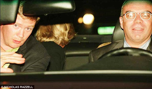 The haunting last picture taken of Diana shows her peering out the rear window to look for paparazzi. Trevor Ress and chauffeur Henri Paul are also pictured