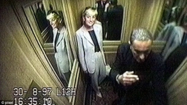 Diana in a hotel lift with Dodi Fayed. Sue Reid believes there may be some truth in he Soldier N's claims