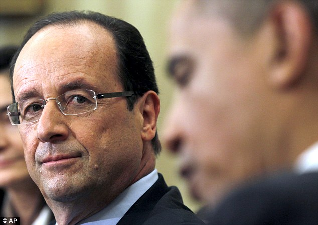 Lone supporter: President Francois Hollande of France is the only country supporting the United States as they contemplate armed action against Bashar Assad's regime over a suspected chemical weapons attack on his own people.