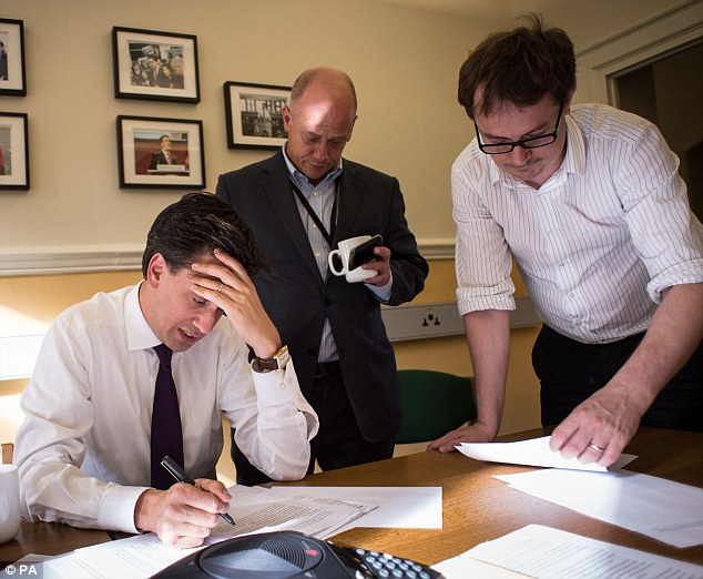 Labour leader Ed Miliband works in his office at Westminster, London