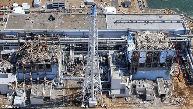 Wrecked: This aerial view shows the Fukushima Daiichi Nuclear Power Station 2011