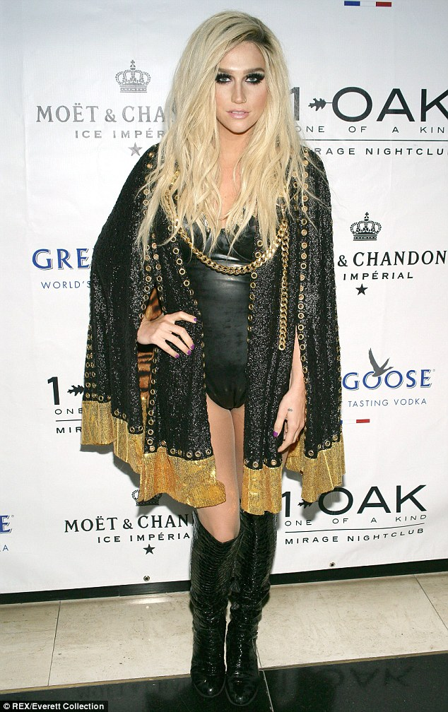 Strike a pose: Before she went onstage, Ke$ha posed outside of the venue
