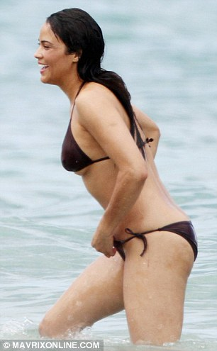 Curvaceous: The 37-year-old actress showed off her enviable bikini body