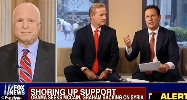 On the offensive: Senator John McCain scolded Fox News host Brian Kilmeade (right) for saying that he wouldn't support the Syrian rebels because they say 'Allahu akbar' after hitting government targets