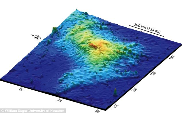 The Tamu Massif volcano sits 1,000 miles east of Japan under the Pacific, along the Shatsky Rise plate. Scientists from the University of Houston made the discovery, which remained hidden because Tamu Massif sits 6,500 feet below the surface.
