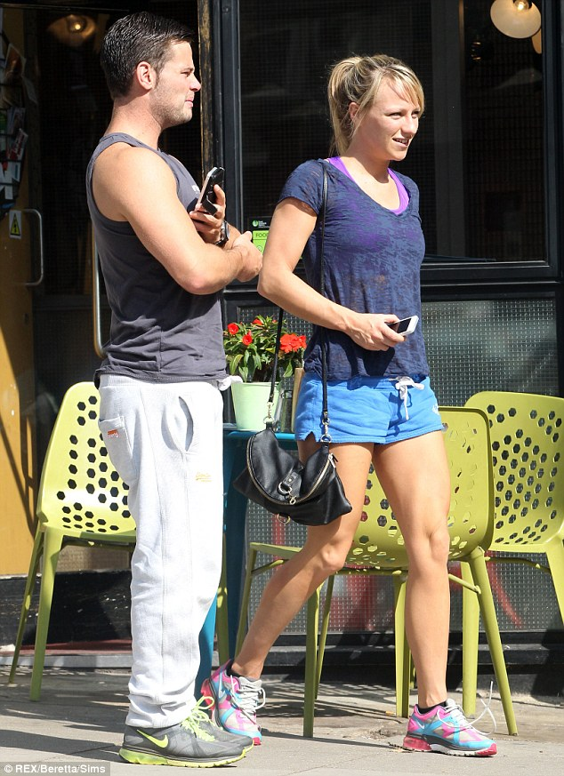 Fitness fanatics! The couple headed out for a bite to eat in a nearby cafe after indulging in yet another workout session