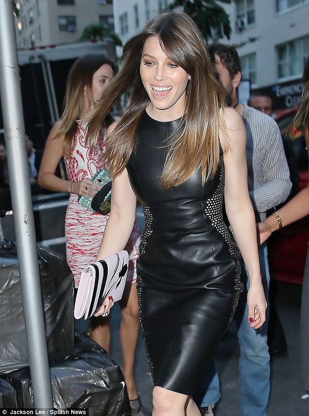 Va-va-voom! Jessica Biel gave Gaga a run for her money in her form-fitting black leather optical illusion dress, which had silver studs up the sides