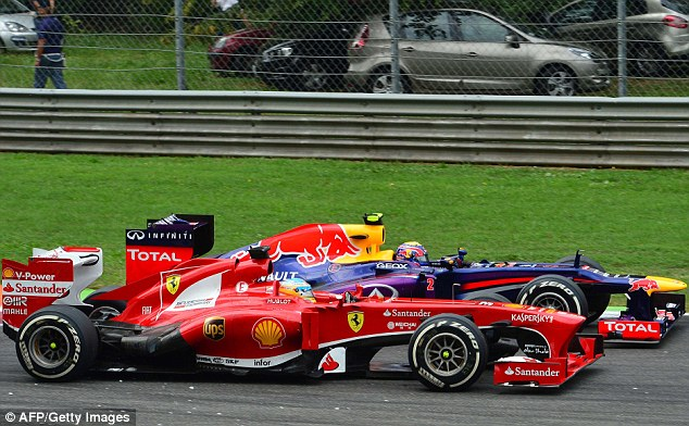 Tight: Fernando Alonso and Mark Webber's battle for second place was thrilling
