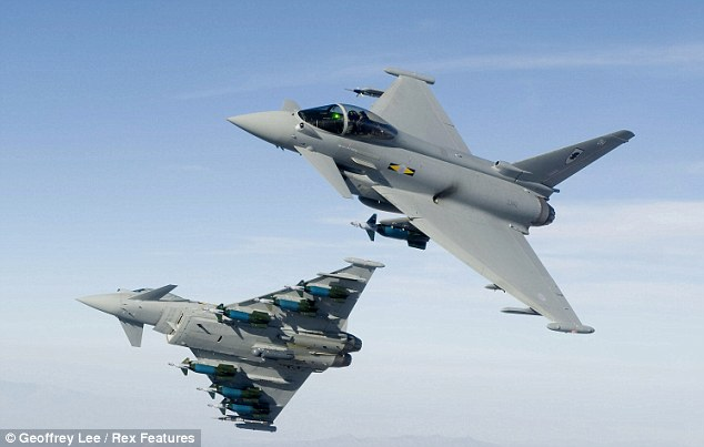 A pair of Typhoons were launched from RAF Akrotiri in Cyprus after two Syrian planes entered the nation's airspace. File pictures
